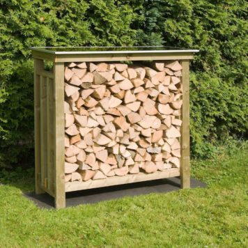 Deze houtberging 120 is tevens tuintafel
