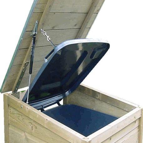 Optioneel is de gasveer voor makkelijk openen en sluiten op de Box 120