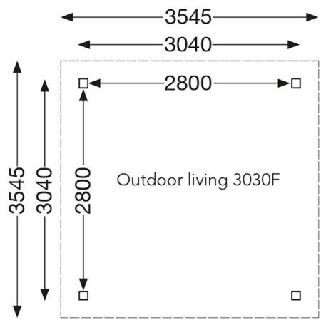 Maatoverzicht overkapping vrijstaand 355x355 cm