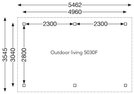 Maatoverzicht overkapping vrijstaand 546x355 cm