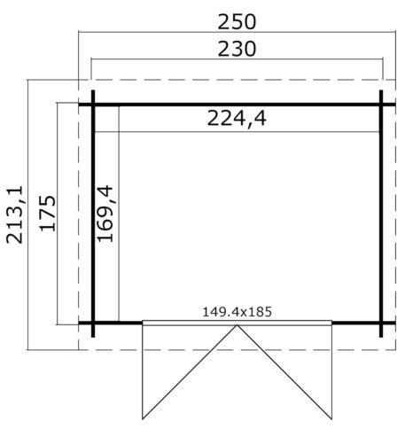 plattegrond tuinhuis Indi 230x175