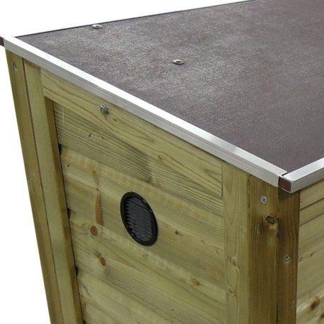 zijaanzicht Gasflessenkist Gasflessenkist 985798 met betonplex deksel ventilatierooster