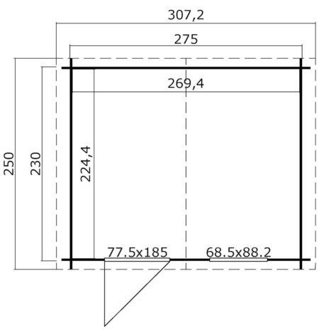 Tuinhuis Nina 275x230 cm