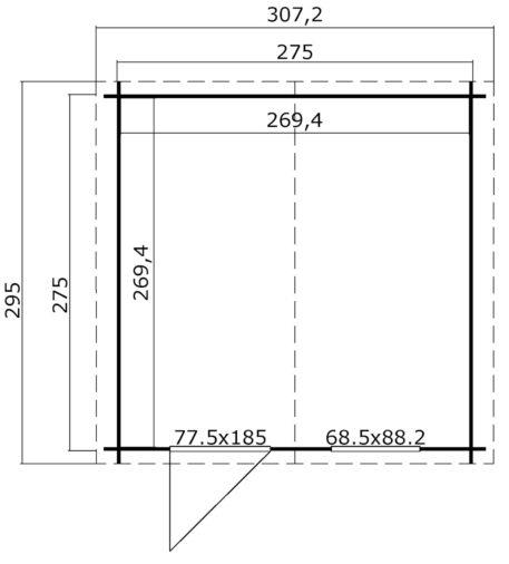 Tuinhuis Nina 275x275 cm