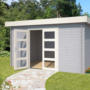 Tuinhuis Mikkel 380x275 in Platinum grey