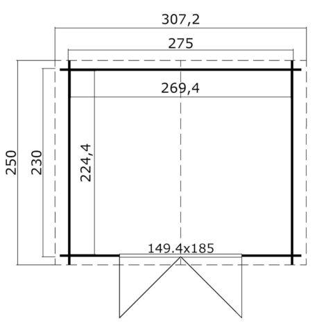 Tuinhuis Norah 275x230 cm