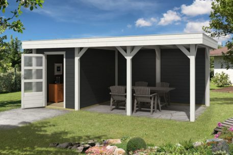 Tuinhuis met overkapping 638x355 in Carbon Grey