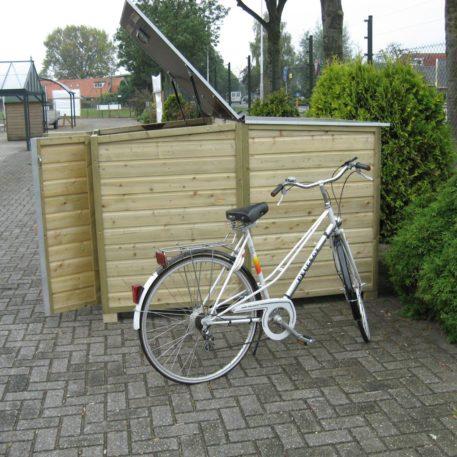 zijaanzicht Fietsberging 150 elektrische fiets